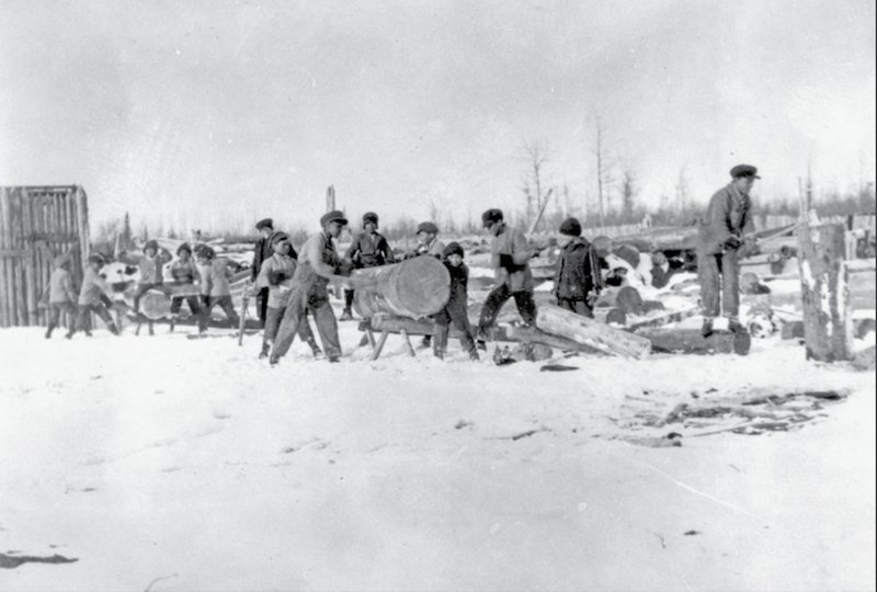 Boys cutting wood at the Fort Resolution, Northwest Territories, school. Canada, Department of Interior, Library and Archives Canada, PA-048021..png
