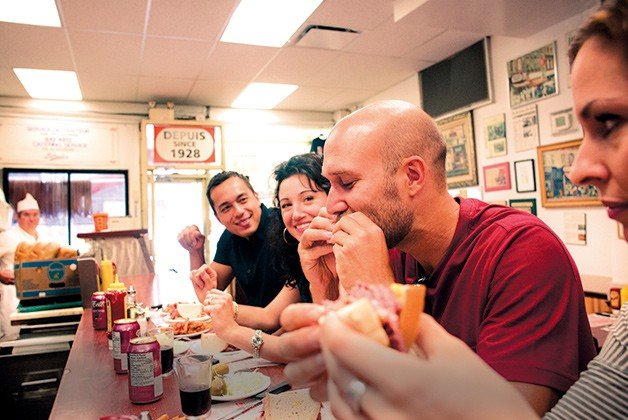 Chow down on Montreal smoked meat at Schwartz's.