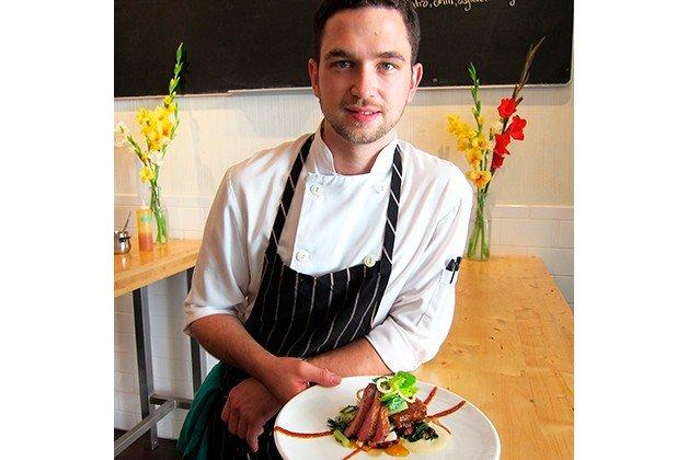 Chef Carl Heinrich with roast Muscovy duck