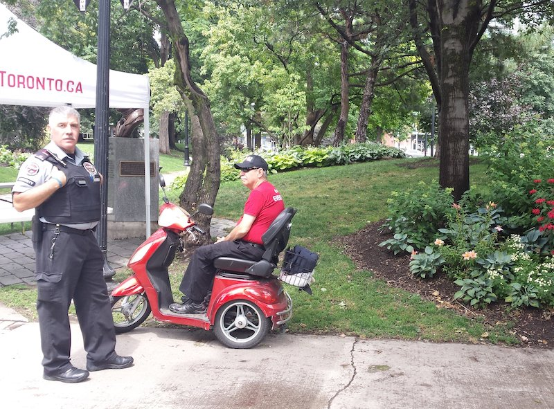 security guard & BOB KEMP st james park.jpg