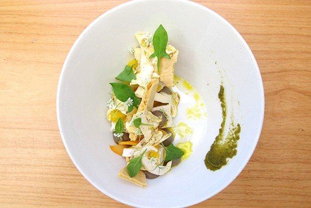 Tofu with matsutake mushrooms