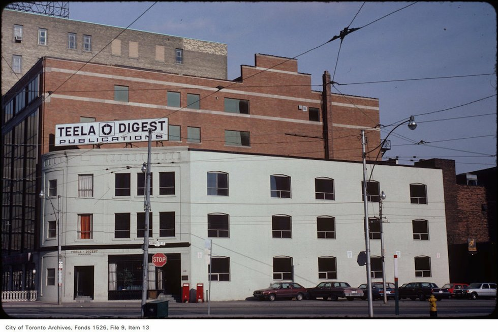 View of factory building at the north-east corner of Victoria and Dundas Street East – November 10, 1981