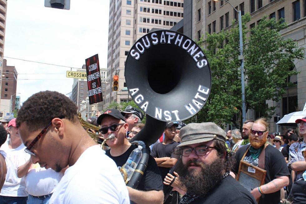 Dayton, Ohio KKK rally, tuba playing protestor.JPG