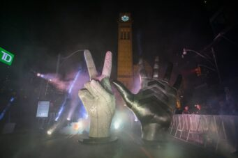 A photo of the installation Peace To The Past, Reach For The Future at Nuit Blanche 2019.
