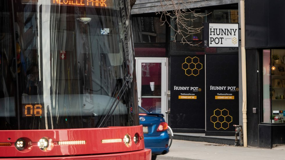 A photo of the Hunny Pot cannabis retail store on Queen West in Toronto