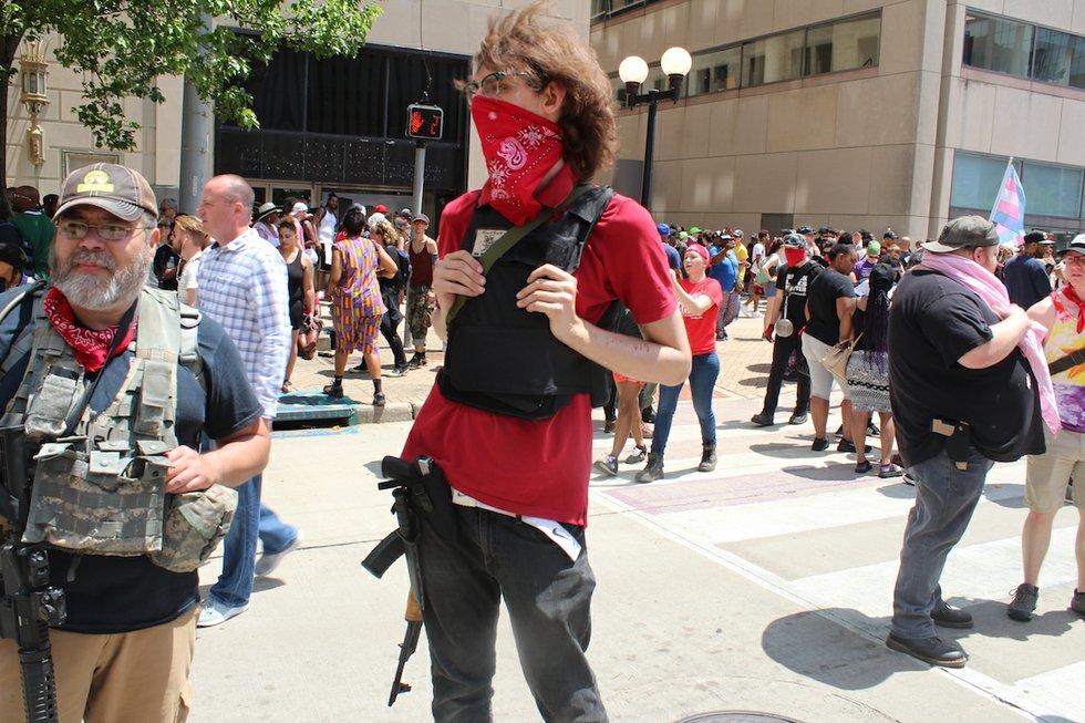 KKK rally Dayton, Ohio armed protestor.JPG
