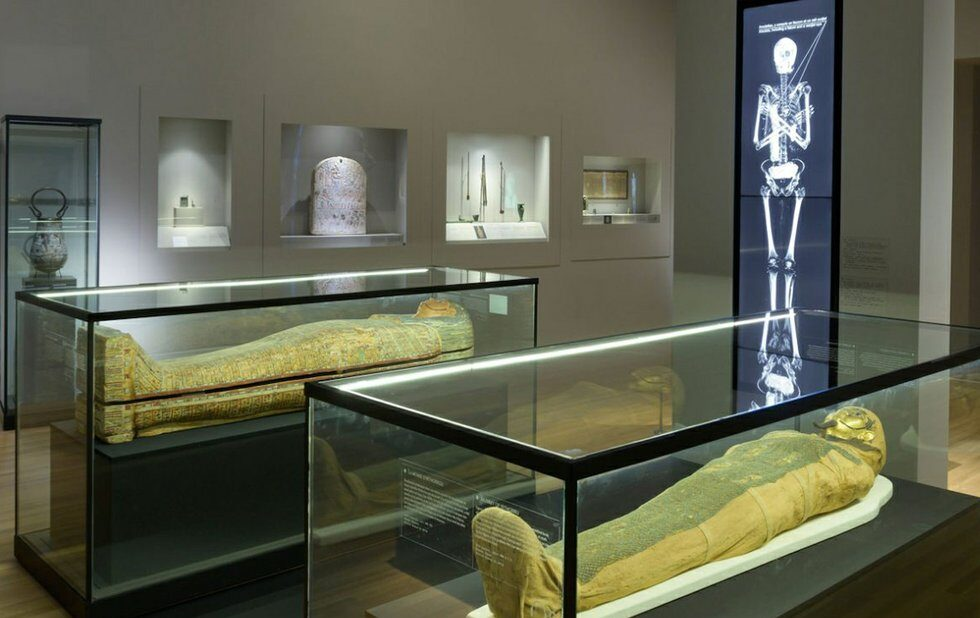 A photo of Egyptian mummies exhibition