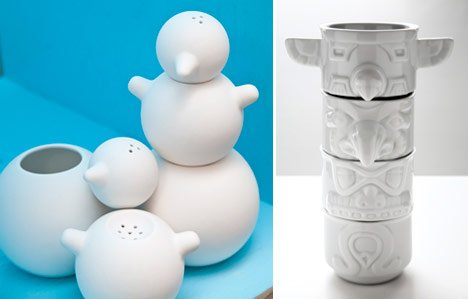 Snowman shakers, designed by Tomas Kral (left) and Totem Cups,  designed by Rob Southcott (right).