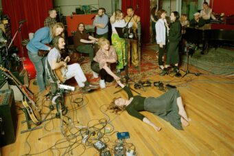 U.S. Girls in the studio before the pandemic.