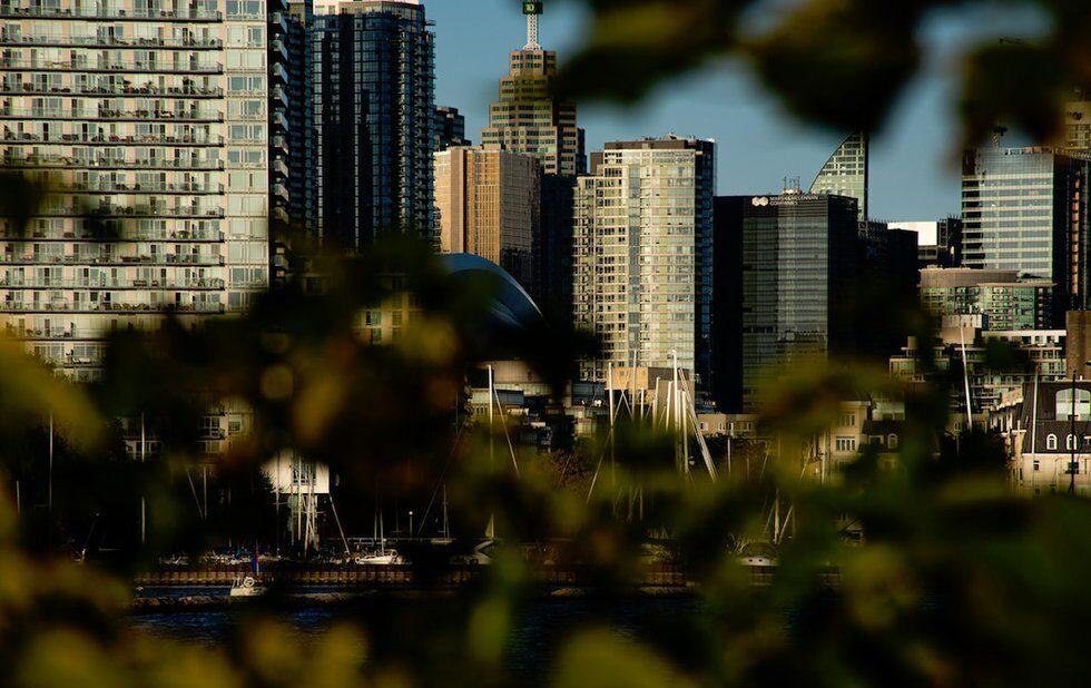 A photo of condos and the Toronto skyline