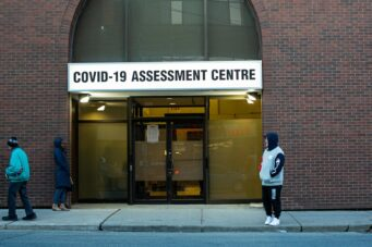 COVID-19 testing centre in Toronto, Ontario.