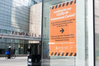 "alt=""A COVID-19 testing centre at St. Michael's Hospital in Toronto"""