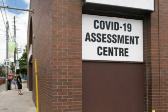 A COVID-19 assessment centre in Toronto, Ontario