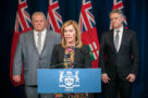 A photo of Ontario Premier Doug Ford, Health Minister Christine Elliott and Finance Minister Rod Phillips