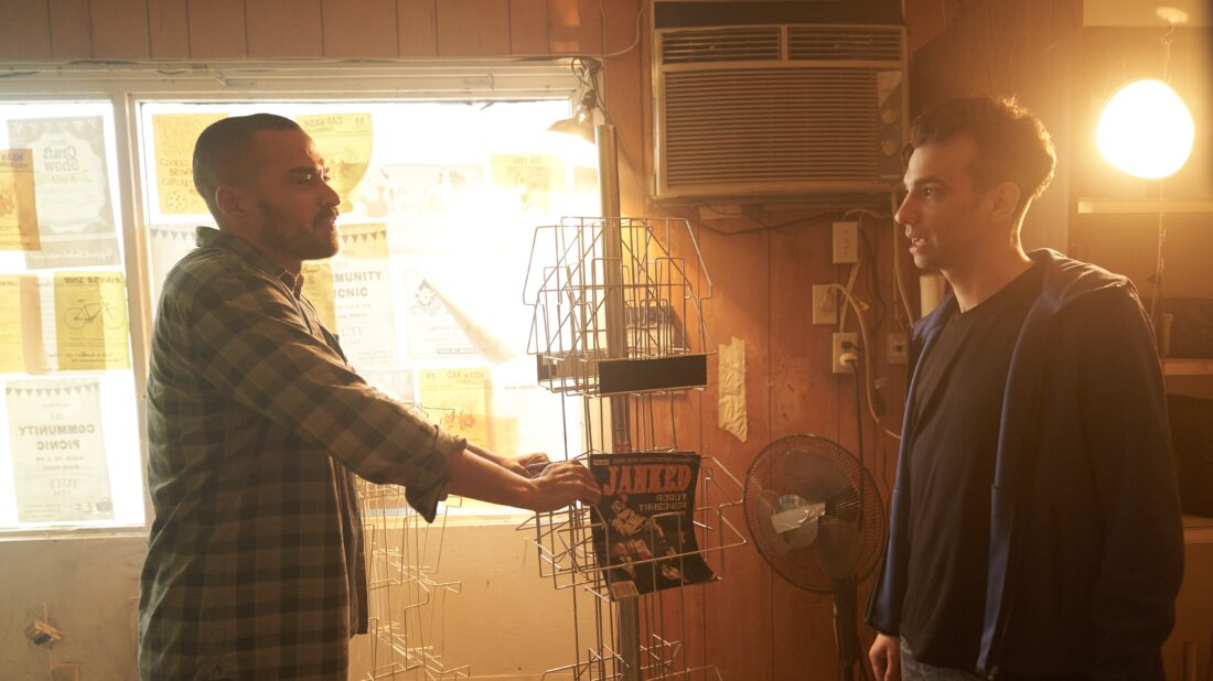 Jesse Williams and Jay Baruchel in a scene from Random Acts Of Violence.