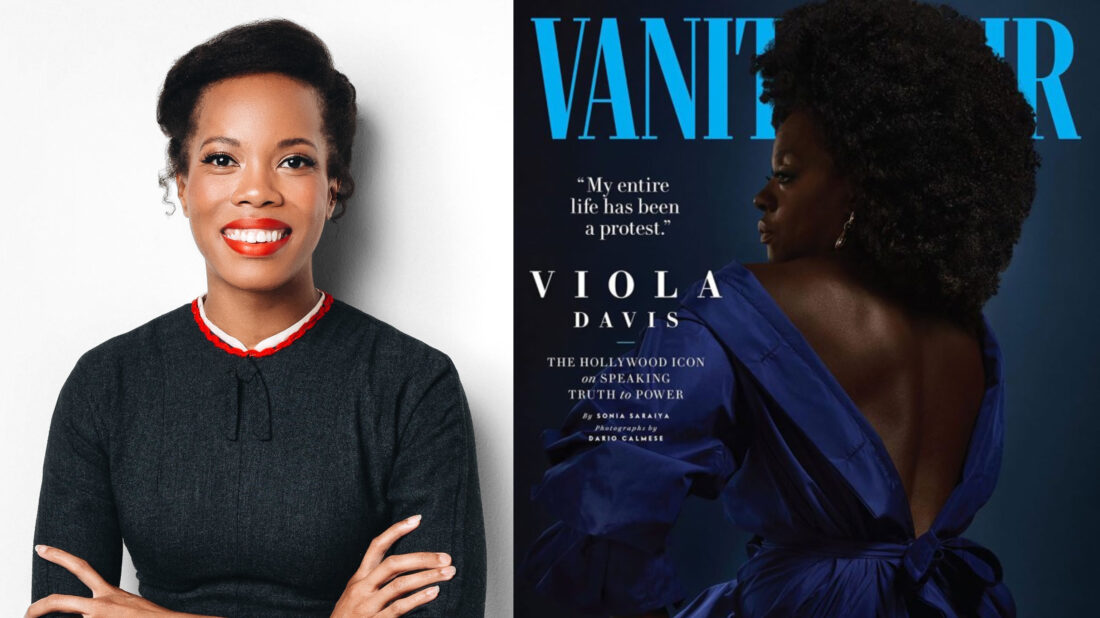 A photo of professor Kimberly Jenkins and Vanity Fair's July/August 2020 cover
