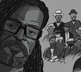 A comic panel by Jon Olbey of the writer Rinaldo Walcott