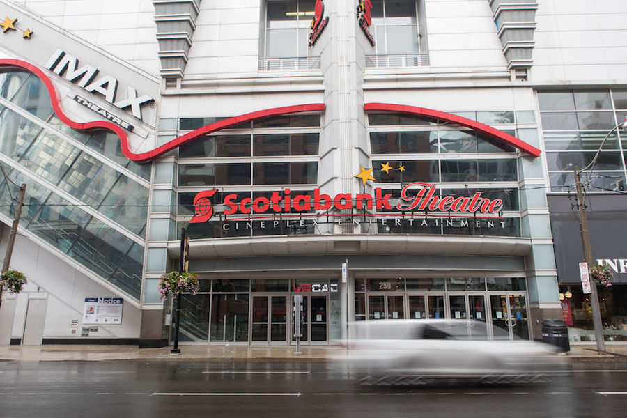 A photo of the Scotiabank Cinema in Toronto during the coronavirus pandemic on July 7, 2020.