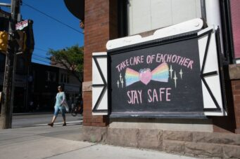 A photo of a stay safe sign in Toronto during the COVID-19 crisis