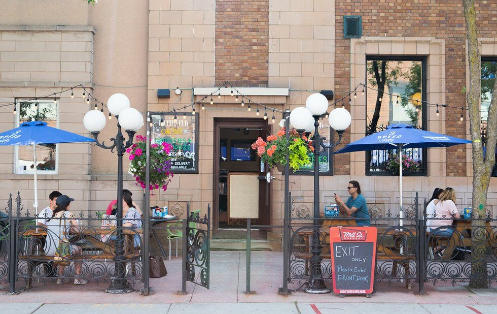 Pauper's Pub in the Annex's patio, reopend during coronavirus. Restaurant dining rooms will reopen when Toronto hits Stage 3.