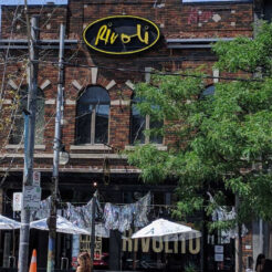 """alt=""""The Rivoli bar and music venue on Queen West in Toronto in summer 2020"""""""