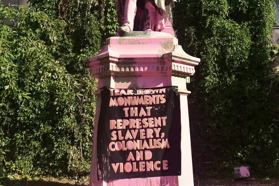 A photo of a protest sign on the Egerton Ryerson statue in Toronto on July 18, 2020.