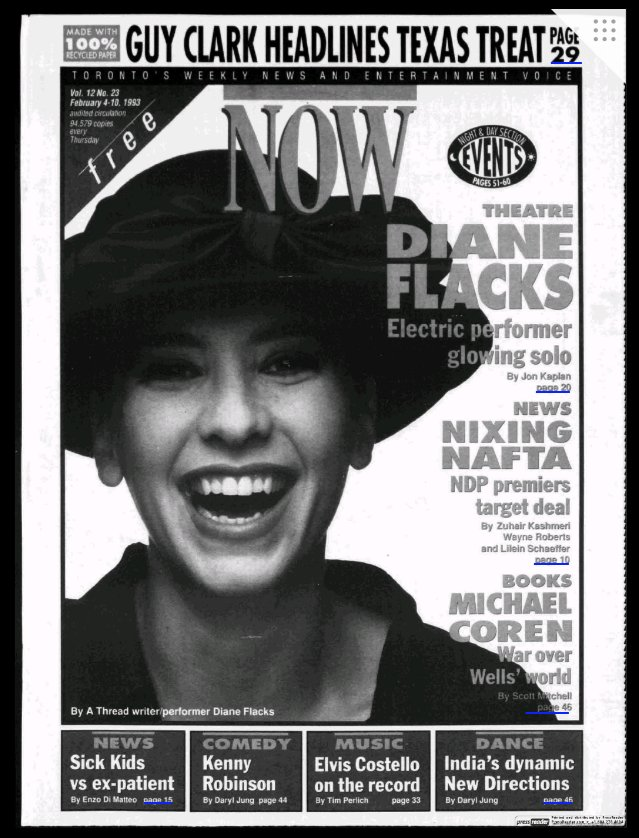 Screen shot of Diane Flacks NOW Magazine cover from 1993