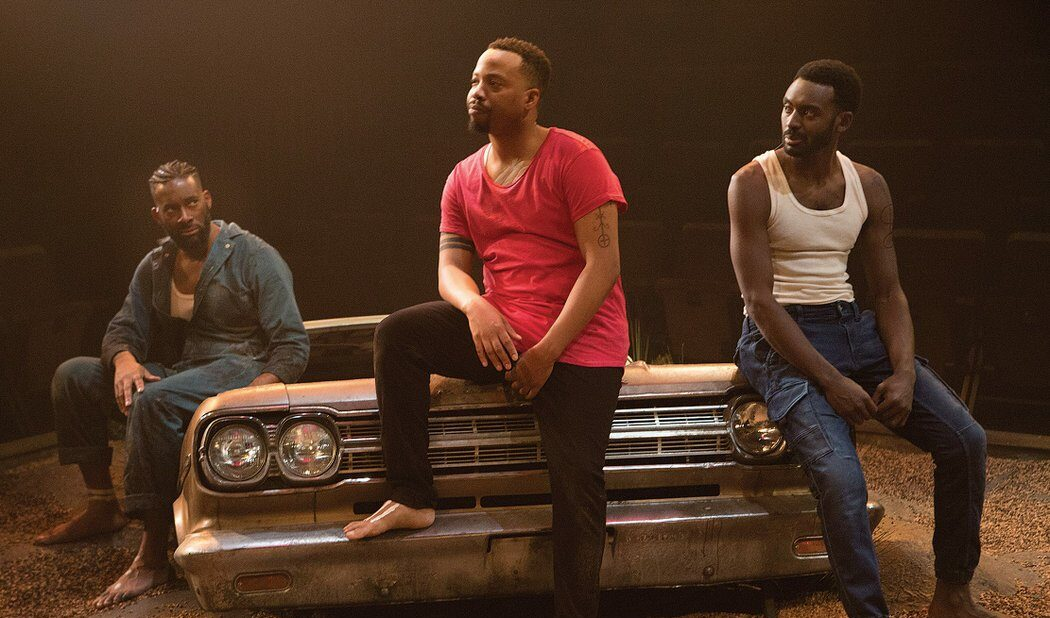 Soulpepper's The Brothers Size, starring Daren A. Herbert (left), Marcel Stewart and Mazin Elsadig, took home five Dora Awards, including one for Daren A. Herbert (left) for performance in a featured role. (Photo by Cylla von Tiedemann)