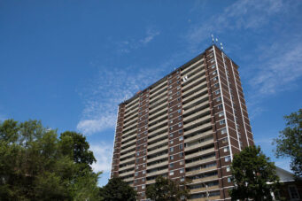 A photo of a Toronto apartment building taken in July 2020