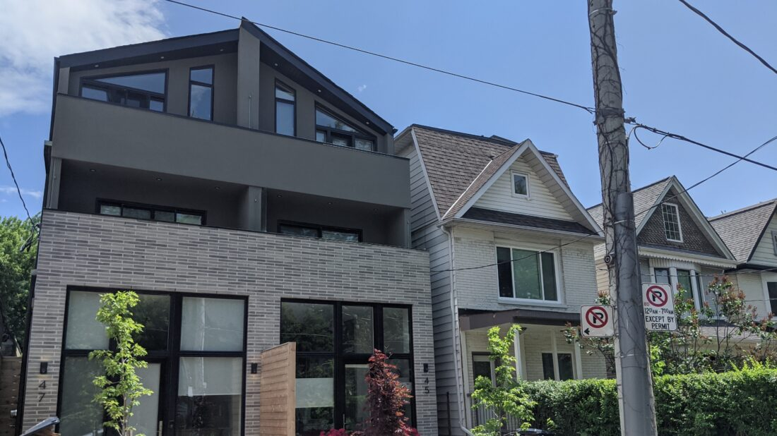 A semi-detached home in Toronto's Leslieville neighbourhood.