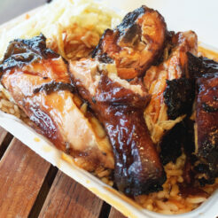 Jerk chicken at Raps Caribbean restaurant in Toronto.