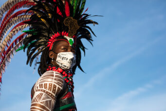 Omotayo Damilola is dressed in SugaCayne Mas's Bloodline costume featured in Toronto Carnival 2020.