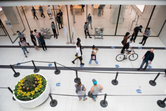 Safety protocols are in place at the Toronto Eaton Centre to minimize COVID-19 exposure risk.
