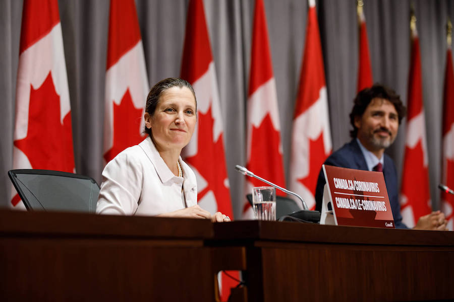 A photo of Chrystia Freeland and Prime Minister Justin Trudeau