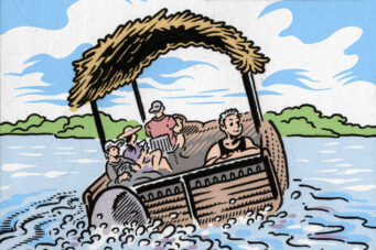 An Eric Kostiuk Williams comic panel of a water taxi going to Hanlan's Point Beach