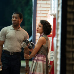 A photo of Jonathan Majors and Jurnee Smollett-Bell in the HBO series Lovecraft Country.