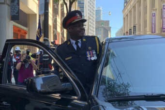 A photo of former Toronto police chief Mark Saunders, a member of Ontario's COVID-19 vaccine task force