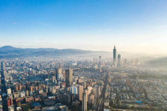 A photo of the Taipei City skyline in Taiwan