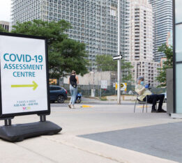 A photo of a COVID-19 assessment centre in Toronto, Ontario