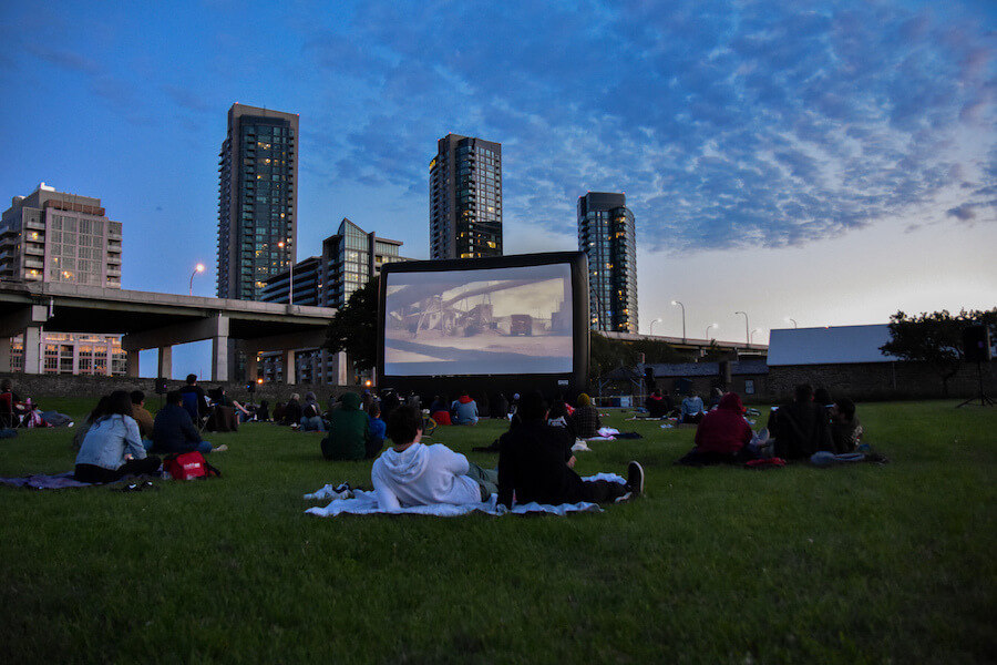 A photo of the Toronto Outdoor Picture Show screening series at Fort York in Toronto.