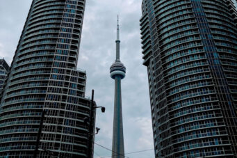 A photo of condos in Toronto with the CN Towner