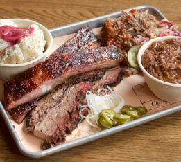 Brisket and rib platter at Cherry Street BBQ in Toronto.