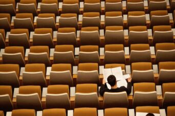 A photo of a university classroom
