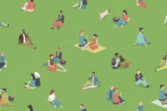Young people COVID park gathering illustration