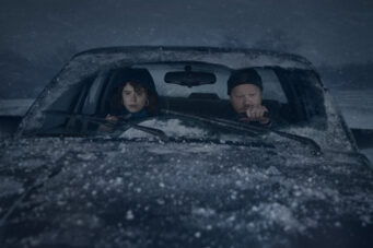 Jessie Buckley and Jesse Plemons on the road in Charlie Kaufman's I'm Thinking Of Ending Things