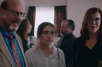Fred Melamed, Rachel Sennott and Polly Draper in Shiva Baby.