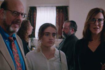Fred Melamed, Rachel Sennott and Polly Draper in Shiva Baby.