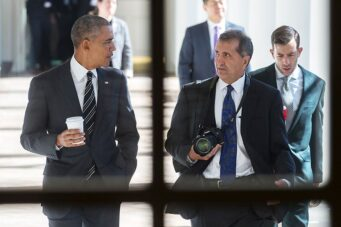 Barack Obama and Pete Souza share a moment in The Way I See It.
