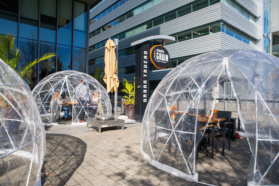 bubble dining by the lake at against the grain