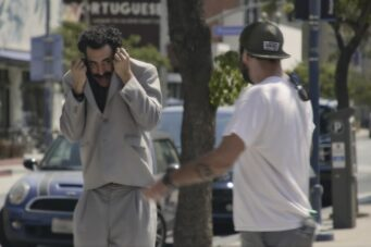 Borat (Sacha Baron Cohen) does his best to go unrecognized in Borat: Subsequent Moviefilm